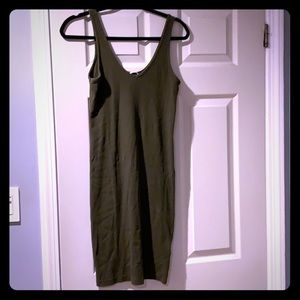H&M Army green ribbed to the knee dress